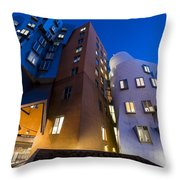 The Mit Stata Center At Night Kendall Square Cambirdge Ma Moon Front Throw Pillow