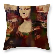 The Mona Lisa Colorful Watercolor Portrait On Worn Canvas Throw Pillow
