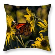 The Monarch And The Sunflower Throw Pillow