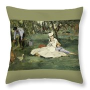 The Monet Family In Their Garden At Argenteuil Throw Pillow