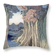 The Monkey Bridge In The Kai Province Throw Pillow by Hiroshige
