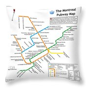 The Montreal Pubway Map Throw Pillow