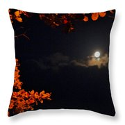 The Moon And Red Throw Pillow