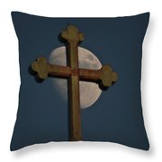 The Moon And The Cross II Throw Pillow