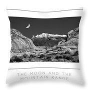 The Moon And The Mountain Range Poster Throw Pillow