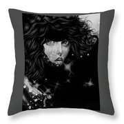 The Moon And The Stars Are In Her Sights. Throw Pillow