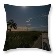 The Moonit Path To Fort Myers Beach Fort Myers Florida Throw Pillow