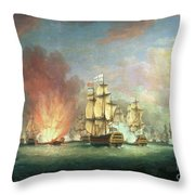 The Moonlight Battle Throw Pillow by Richard Paton