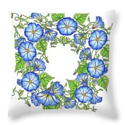 The Morning Glory Circle Watercolor Throw Pillow
