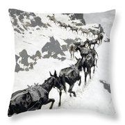 The Mule Pack Throw Pillow