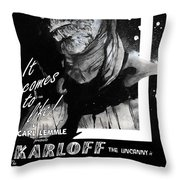 The Mummy 1932 Movie Poster With Tagline Throw Pillow