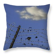 The Musical Barbed Wire Birds Throw Pillow