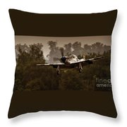 The Mustang Is Landing Throw Pillow