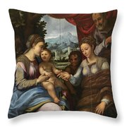 The Mystic Marriage Of Saint Catherine Throw Pillow