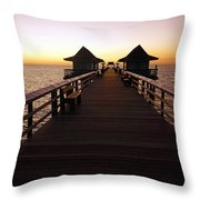 The Naples Pier At Twilight - 01 Throw Pillow by Robb Stan