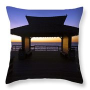 The Naples Pier At Twilight - 02 Throw Pillow by Robb Stan