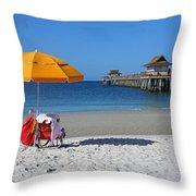 The Naples Pier Throw Pillow by Robb Stan