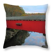 The Narrows Covered Bridge At Dusk Throw Pillow