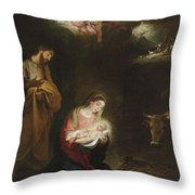 The Nativity With The Annunciation To The Shepherds Beyond Throw Pillow