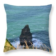 The Needle Off The Cliff's Of Moher In Ireland Throw Pillow