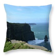 The Needle Rock Formation On The Cliff's Of Moher Throw Pillow