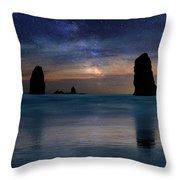 The Needles Rocks Under Starry Night Sky Throw Pillow