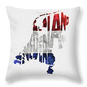 The Netherlands Typographic Map Flag Throw Pillow