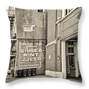 The New Drink Sepia Throw Pillow