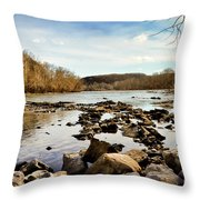 The New River At Whitt Riverbend Park - Giles County Virginia Throw Pillow