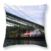 The New Tacoma Narrows Bridge - Crowley Tug Throw Pillow