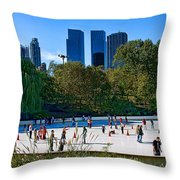 The New York Central Park Ice Rink  Throw Pillow