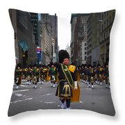 The New York City Police Emerald Society Pipe And Drum Corps Throw Pillow