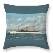 The New York Yacht Club Steam Yacht Vanadis At Sea Throw Pillow