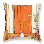 The Long Wait Throw Pillow by George Booth