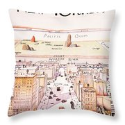 The New Yorker - Magazine Cover - Vintage Art Nouveau Poster Throw Pillow