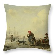 The Newa At Saint Petersburg In Winter Throw Pillow