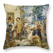 The News Of Villafranca Throw Pillow