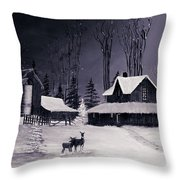 The Night Before Christmas Silvertoned Throw Pillow