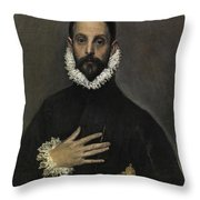 The Nobleman With His Hand On His Chest Throw Pillow