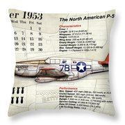 The North American P-51 Mustang V1 Throw Pillow