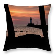 The North Pier Lighthouse Throw Pillow