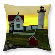 The Nubble Cape Neddick Lighthouse In Maine At Dawn Throw Pillow