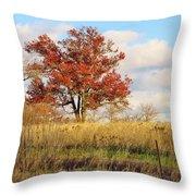 Red Oak Under November Skies Throw Pillow