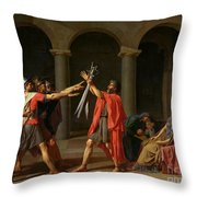 The Oath Of Horatii Throw Pillow by Jacques Louis David