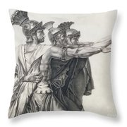 The Oath Of The Horatii, Detail Of The Horatii  Throw Pillow