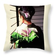 Green Obi At Sansui Restaurant Throw Pillow