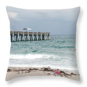 The Ocean Pier Throw Pillow