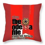 The Odessa File Frederick Forsyth Book Cover 1972 Color Added 2016 Throw Pillow