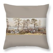 The Officers And Seaman Of The Fleet On Shore At Nargen Throw Pillow