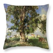 The Old Ash Tree Throw Pillow by Edward Arthur Walton